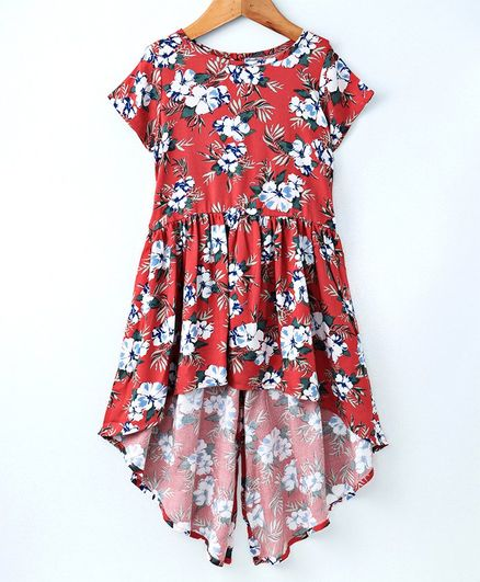 2fbaaad33dac4 Buy Pikaboo Flower Printed Half Sleeves Dress Orange for Girls (8-10 ...