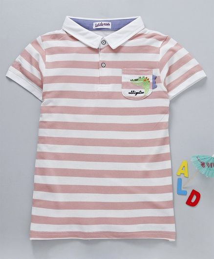 Meng Wa Striped Half Sleeves Polo T-Shirt - Peach & White