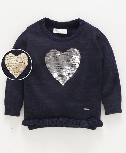 Babyoye Full Sleeves Sweater Sequin Flip Heart Pattern - Navy Blue