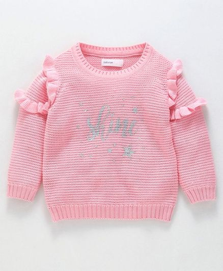 Babyoye Full Sleeves Sweater Ruffle Detailing - Pink