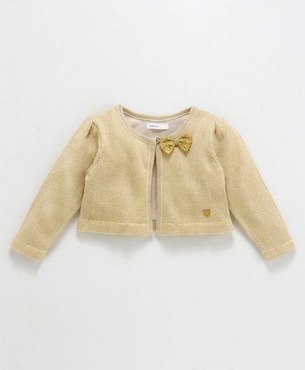 Babyoye Full Sleeves Shrug Bow Applique - Golden