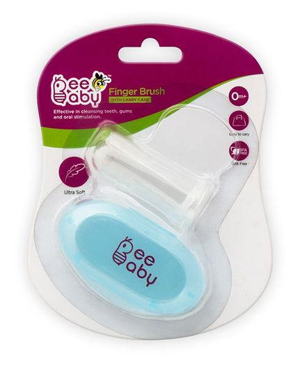 Beebaby Soft Silicone Finger Brush With Carry Case - Blue