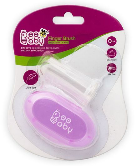 Beebaby Soft Silicone Finger Brush With Carry Case - Purple