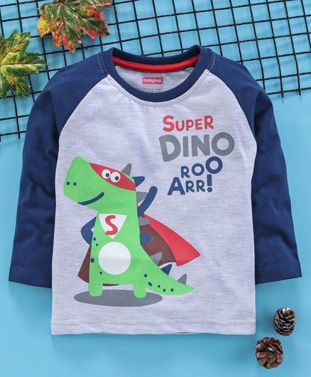 Babyhug Full Sleeves Tee Dino Print - Blue White