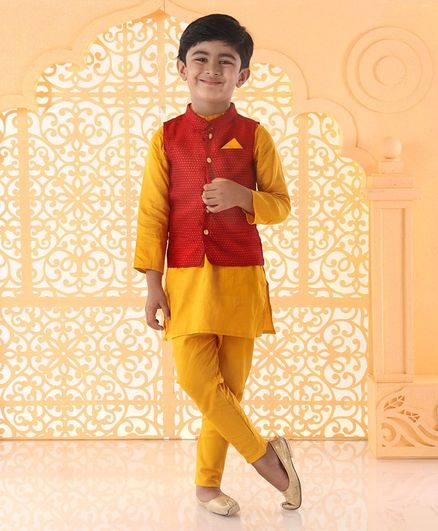 Babyoye Full Sleeves Cotton Poly Jacquard Kurta And Pyjama With Jacket - Red Yellow