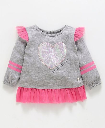 Babyoye Full Sleeves Cotton Top Heart Patch - Grey Pink