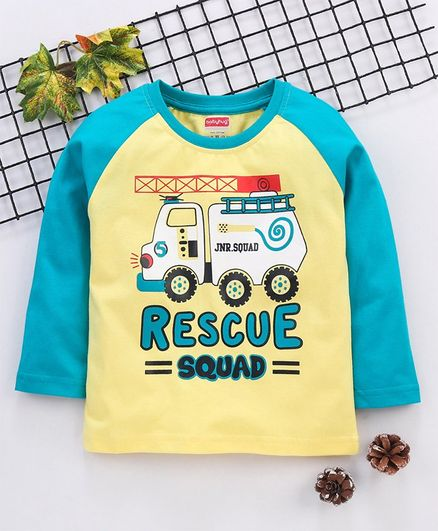 Babyhug Full Sleeves Tee  Rescue Squad Print - Yellow Blue