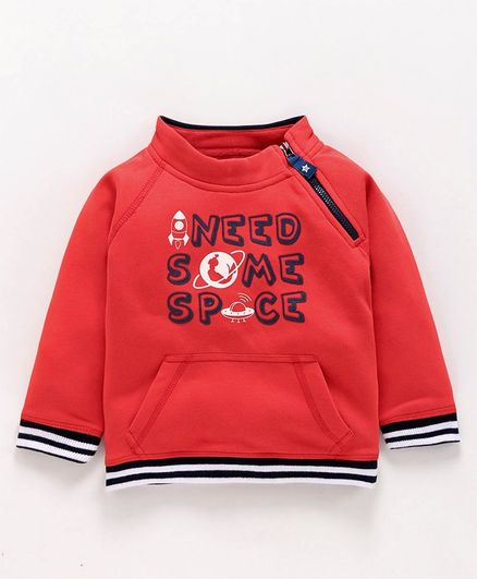 Babyoye Full Sleeves Cotton Sweatshirt Rocket Print - Red