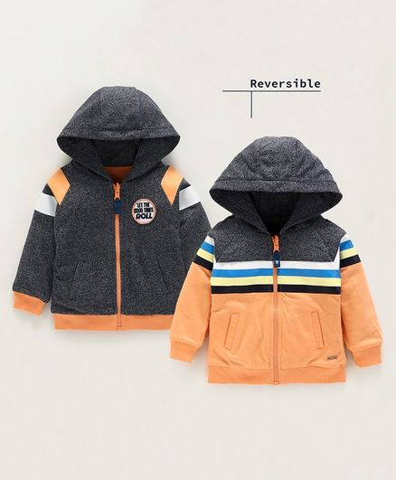 Babyoye Full Sleeves Cotton Reversible Hooded Sweat Jacket Striped - Orange