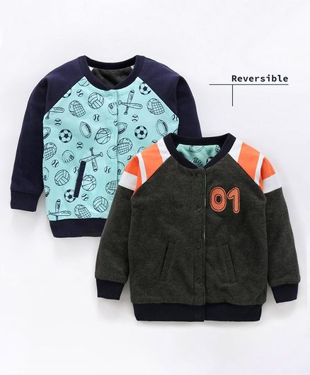 Babyoye Winter Wear Cotton Full Sleeves Reversible Sweat Jacket Multi Print - Blue Grey