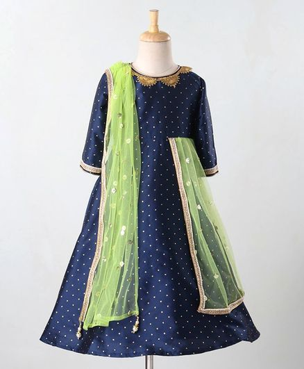 Babyoye Full Sleeves Embroidered Ethnic Dress With Dupatta - Navy Blue