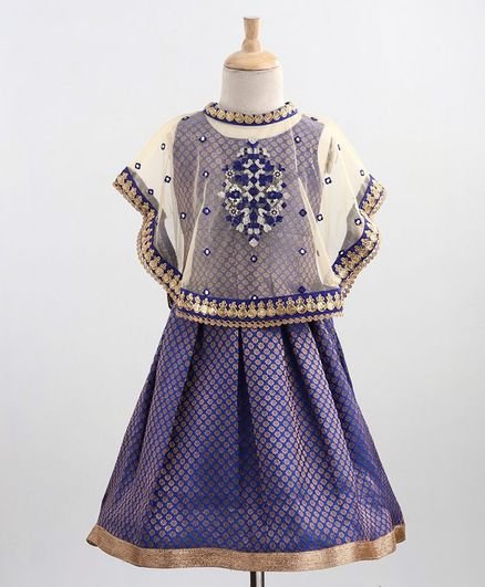 Babyoye Sleeveless Embroidered Ethnic Dress With Net Cape - Navy Blue