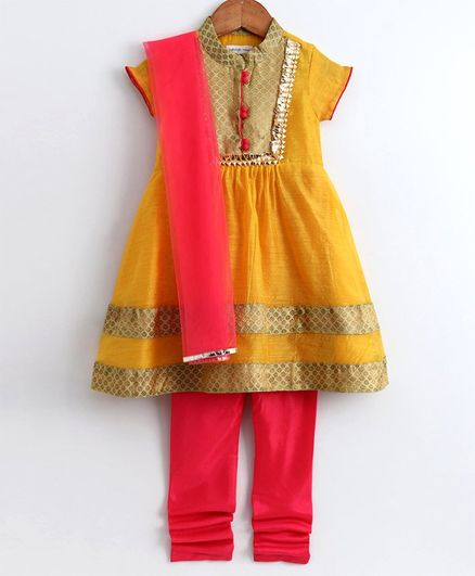 Babyoye Short Sleeves Chanderi Anarkarli And Churidar With Dupatta Self Design - Yellow Pink