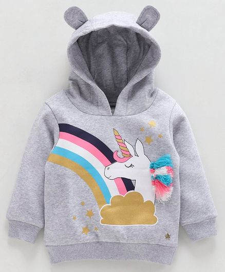 Babyoye Cotton Full Sleeves Hooded Sweatshirt Unicorn Print - Grey