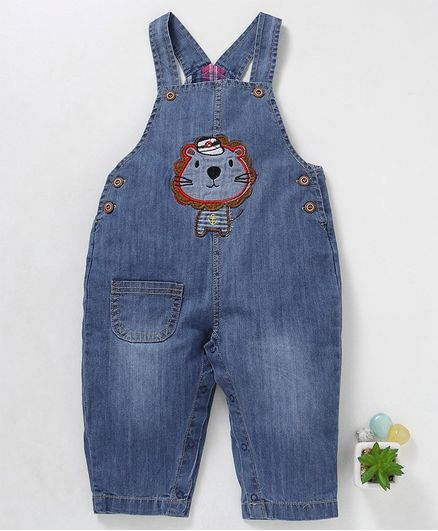 5153c7f68 Buy Kookie Kids Sleeveless Dungaree Style Romper Lion Patch Blue ...