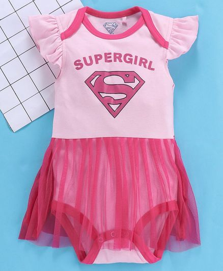 Mom's Love Short Sleeves Frock Style Onesie Supergirl Print - Light Pink Fuchsia