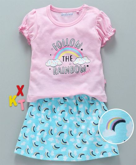 Mom's Love Balloon Sleeves Top & Skirt Rainbow Print - Pink Blue