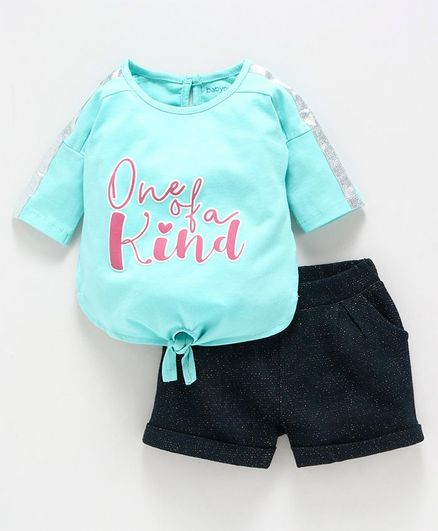 Babyoye Three Fourth Sleeves & Solid Shorts Text Print - Turquoise