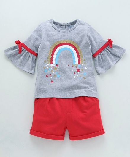 Babyoye Bell Sleeves Cotton Tee And Shorts Rainbow Print - Grey Red Blue