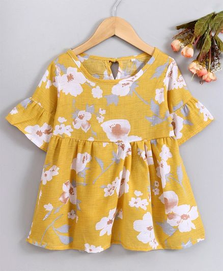 129c8ebff1d05 Buy Superfie Flower Print Half Sleeves Dress Yellow for Girls (2-3 Years)  Online in India, Shop at FirstCry.com - 2761126