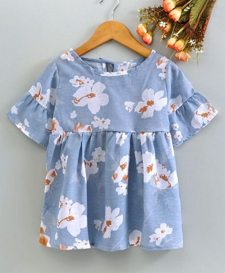 Superfie Flower Print Half Sleeves Dress - Blue