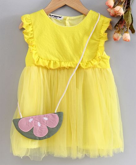 Superfie Solid Sleeveless Dress With Sling Bag  - Yellow