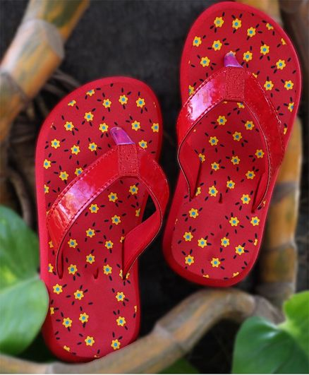 8a83f50d49 Buy DChica Flower Print Flip Flops Red for Girls (8-9 Years) Online, Shop  at FirstCry.com - 2762570