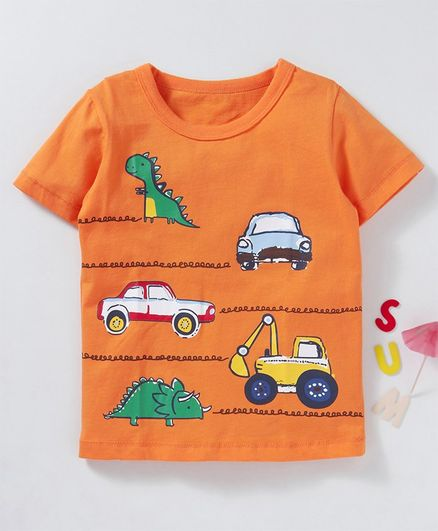 Kookie Kids Half Sleeves Tee Dino & Car Print - Orange