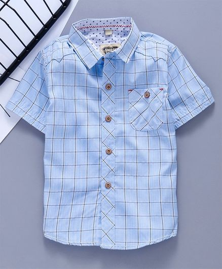 Kookie Kids Half Sleeves Shirt Checked - Light Blue