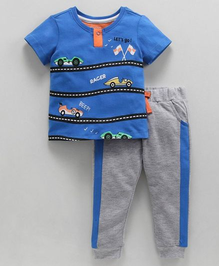 Babyoye Half Sleeves Tee & Lounge Pants Set Vehicles Print - Blue Grey