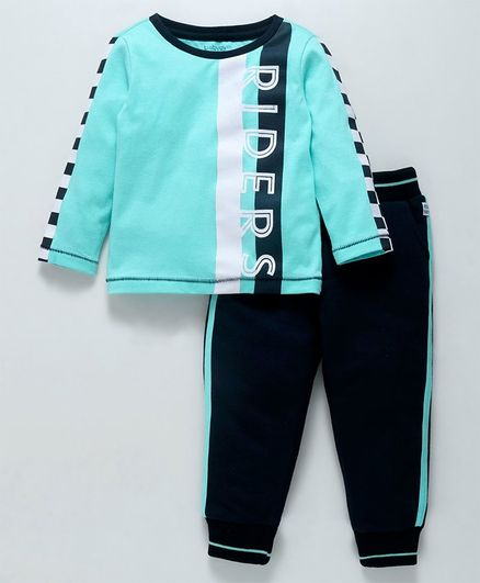 Babyoye Cotton Full Sleeves T-Shirt & Track Pant Riders Print - Teal Blue