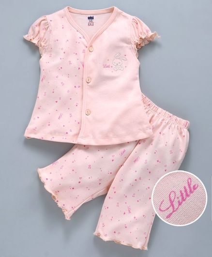 30997f370c Buy Simply Short Sleeves Night Suit Allover Print Peach for Girls (12 ...