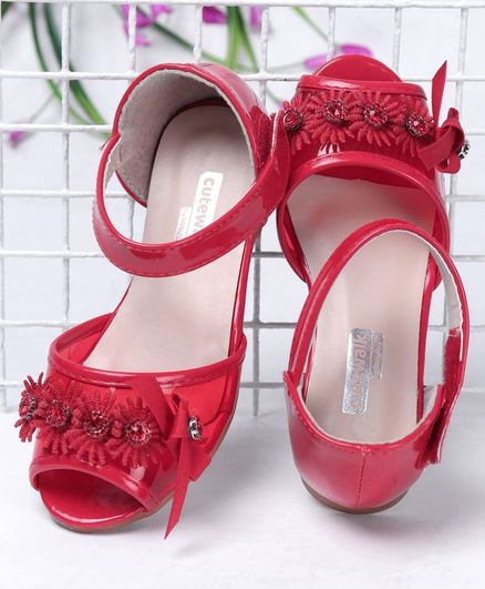 Cute Walk by Babyhug Party Wear Peeptoes Studded Floral Motifs - Red