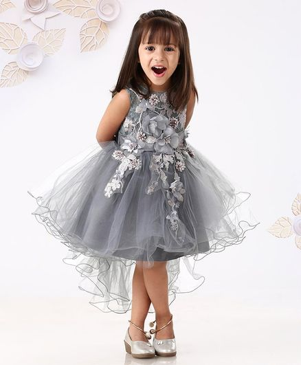 688d04cd115ff Buy Mark & Mia Sleeveless Floral Bodice Party Wear Frock Grey for Girls (  Months) Online in India, Shop at FirstCry.com - 2768385