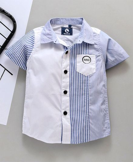 Kookie Kids Half Sleeves Semi Striped Shirt - White Blue