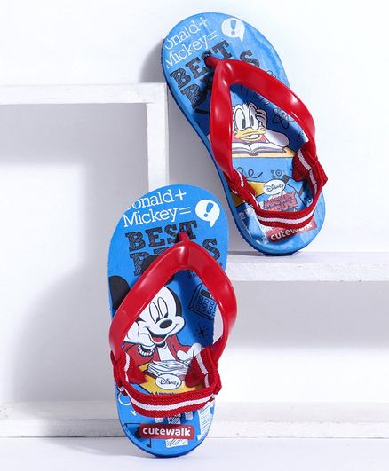 Cute Walk by Babyhug Flip Flops Mickey Mouse & Donald Duck Print - Blue Red