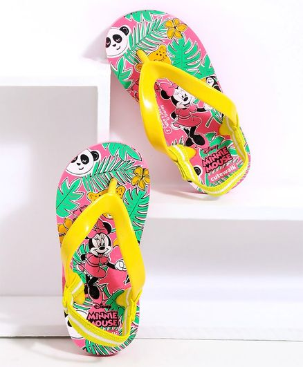 Cute Walk by Babyhug Flip Flops With Back Strap Minnie Mouse Print - Pink Yellow