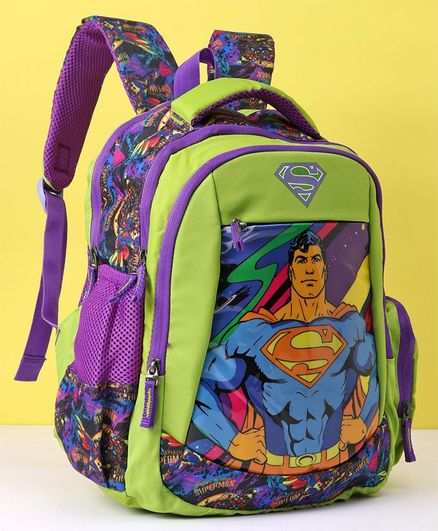 DC Comics School Bag Superman Print Green Navy Blue - 14 inches