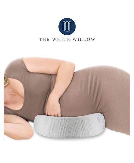 The White Willow Memory Foam C-Shaped Wedge Pregnancy Pillow for Maternity, Belly, Back, Knee, Between Legs Support - White