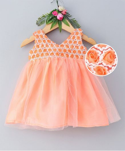 d376ee0bad129 Buy Many Frocks & Sleeveless Rosette Yoke Dress Orange for Girls (18-24  Months) Online in India, Shop at FirstCry.com - 2769489