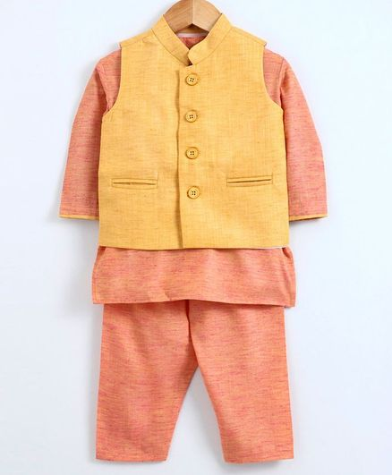 Babyoye Full Sleeves Cotton Slub Kurta With Jacket & Pajama - Yellow