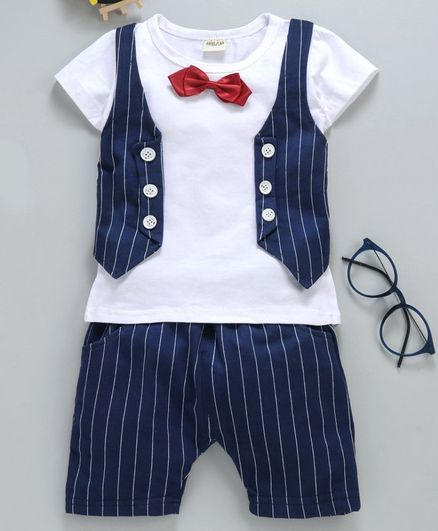 Kookie Kids Half Sleeves Tee With Shorts Striped & Bow Applique - Navy