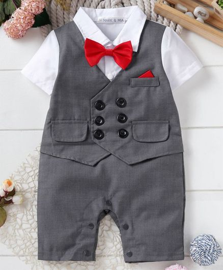 94c6e5cb8f537 Buy Mark & Mia Party Wear Half Sleeves Romper With Bow Grey for Boys (9-12  Months) Online in India, Shop at FirstCry.com - 2772648