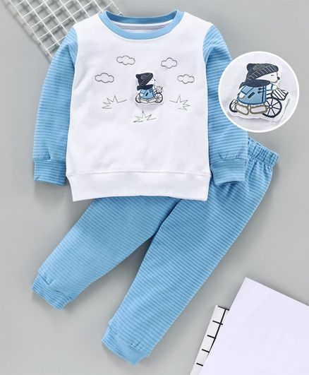 Babyhug Full Sleeves Tee And Stripe Lounge Pant Boy Applique - White Light Blue