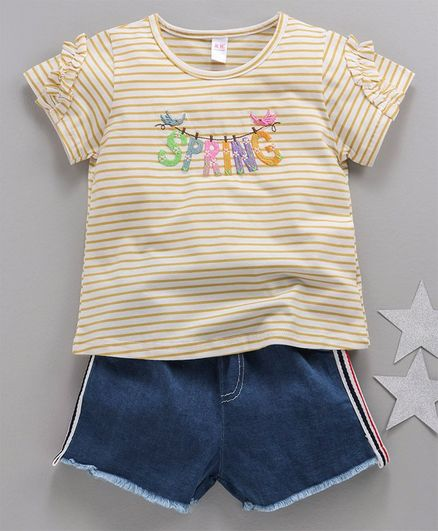 Kookie Kids Striped Half Sleeves Top & Shorts Spring Patch - Yellow