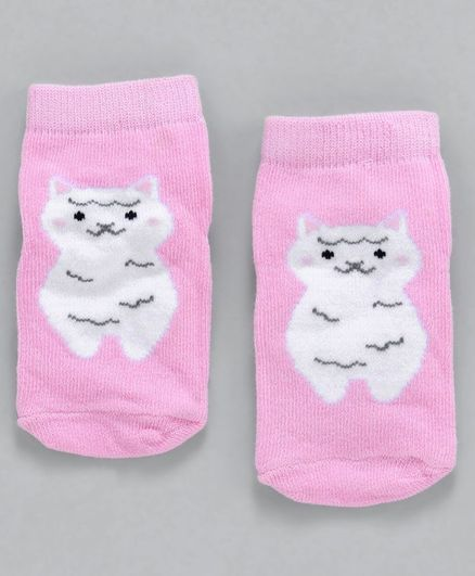 Cute Walk by Babyhug Non Terry Antibacterial Ankle Length Socks Animal Design - Pink