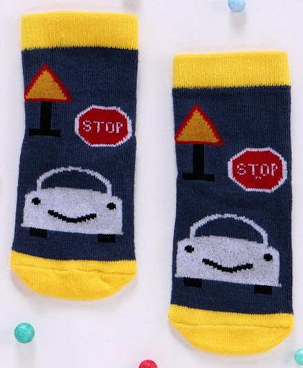Cute Walk By Babyhug Non Terry Antibacterial Ankle Length Socks - Blue