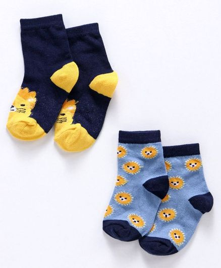 Cute Walk by Babyhug Anti Bacterial Ankle Length Socks Pack of 2 - Navy & Sky Blue