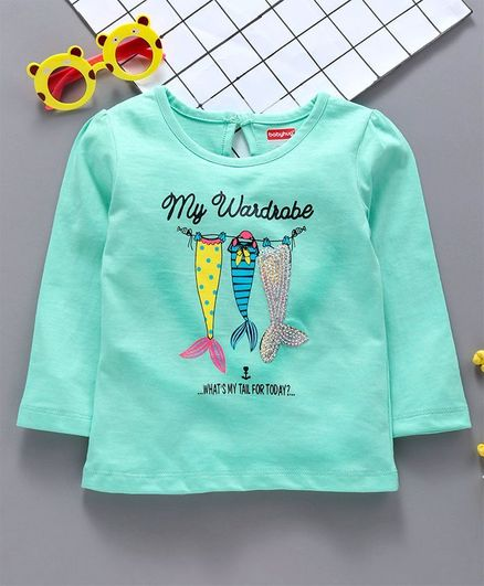 289558182c24 Buy Babyhug Full Sleeves Tee Fish Print With Sequin Mint Green for ...