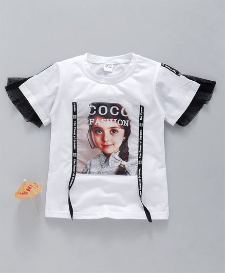 Meng Wa Half Sleeves Netted Hem Top Fashion Graphic Print - White Black